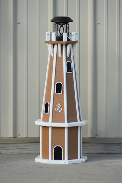 "32"" Octagon; Solar Powered Poly Lighthouses, Carmel/white trim"