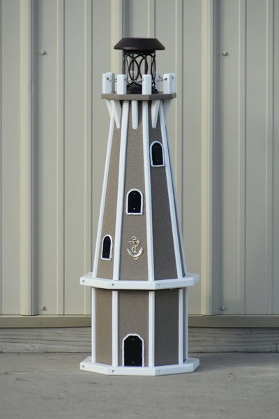 "32"" Octagon; Solar Powered Poly Lighthouses Clay/white trim"