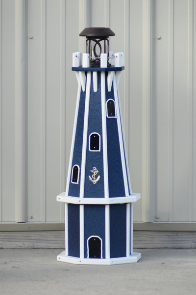 "32"" Octagon; Solar Powered Poly Lighthouses Patriot Blue with White Trim"