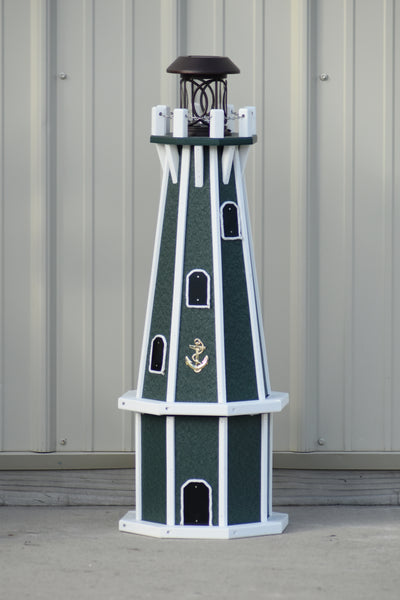 "32"" Octagon; Solar Powered Poly Lighthouses, Green/white trim"