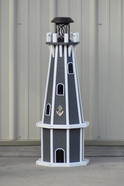 "32"" Octagon; Solar Powered Poly Lighthouses Gray/white trim"