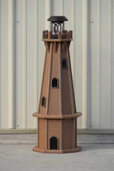 "32"" Octagon; Solar Powered Poly Lighthouse in Antique Mahogany"