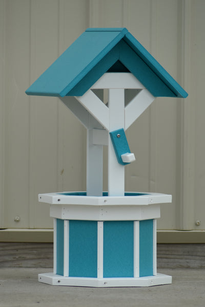 2 ft. Poly Wishing Well, Flower Planter, Aruba Blue and White