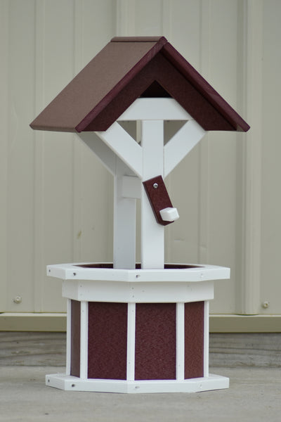 2 ft. Poly Wishing well Planter, Cherry and White