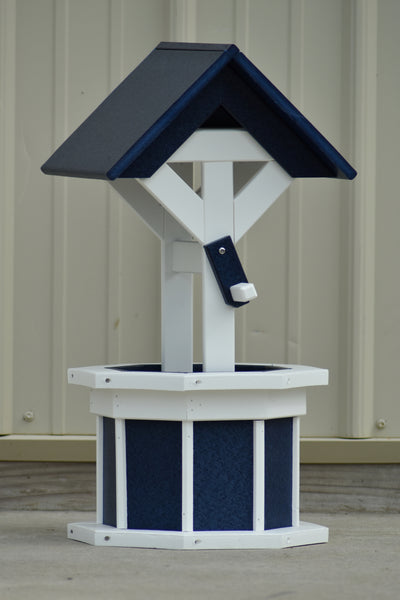 2 ft. Poly Wishing well Planter, Patriot (Navy) Blue and White