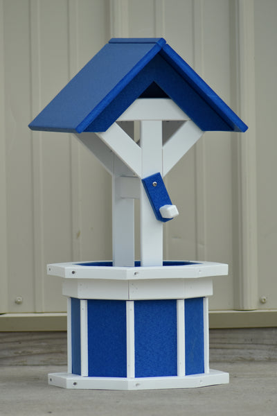 2 ft. Poly Wishing well Planter, Blue and White