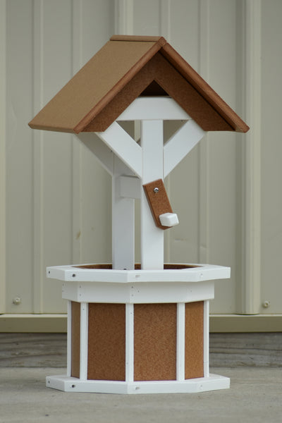 2 ft. Poly Wishing well; Planter; White and Carmel