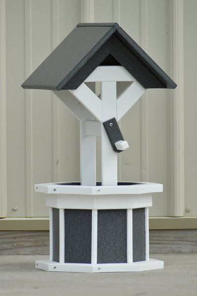 2 ft. Poly Wishing well Planter, Gray and White