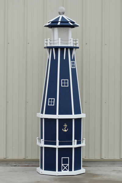 6 ft. Octagon Solar and Electric Powered Poly Lighthouses Patriot Blue and White