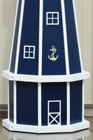 5 ft. Octagon Solar and Electric Powered Poly Lighthouses, Patriot Blue/white trim