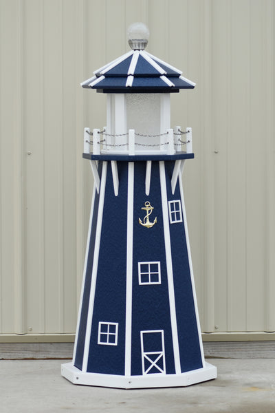 4 ft. Octagon Solar and Electric Powered Poly Garden Lighthouse, Navy Blue/white trim