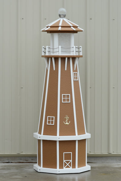 5 ft. Octagon Solar and Electric Powered Poly Lighthouses Carmel with White trim