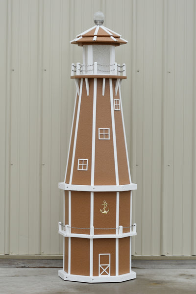 6 ft. Octagon Solar and Electric Powered Poly Lighthouses Carmel with white trim