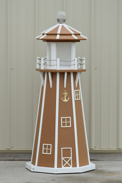 4 ft. Octagon Solar and Electric Powered Poly Lawn Lighthouses, Carmel/white trim