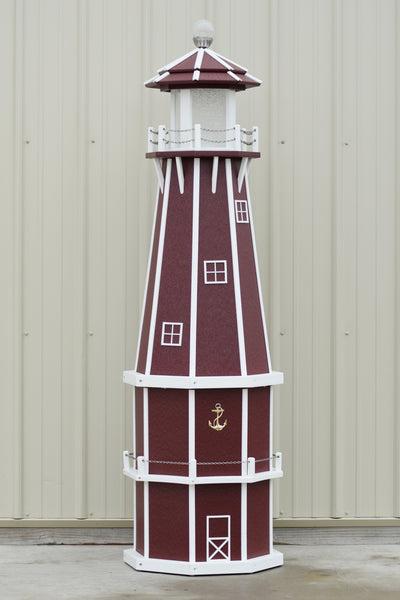 6 ft. Octagon Solar and Electric Powered Poly Lighthouse Cherry and White