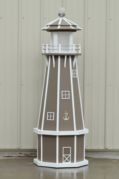 5 ft. Octagon Solar and Electric Powered Poly Lighthouses Clay/white trim