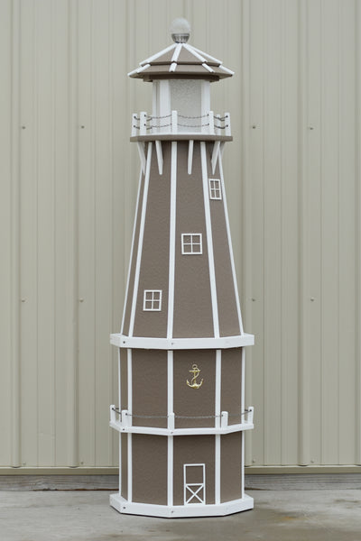 6 ft. Octagon Solar and Electric Powered Poly Lighthouse Clay and White