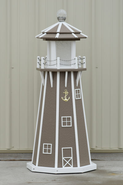 4 ft. Octagon Solar and Electric Powered Poly Garden Lighthouses, Clay/white trim