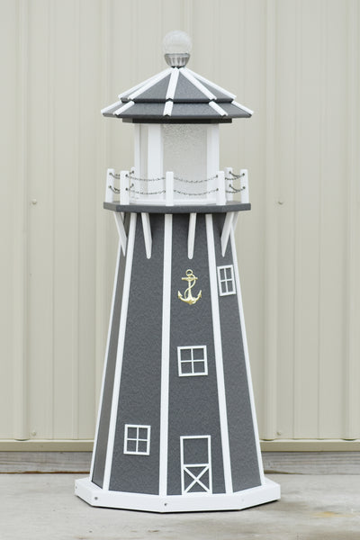 4 ft. Octagon Solar and Electric Powered Poly Lawn Lighthouse, Gray/white trim