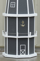 6 ft. Octagon Solar and Electric Powered Poly Lighthouses Gray and White