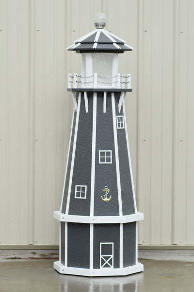 5 ft. Octagon Solar and Electric Powered Poly Lighthouse (Gray)