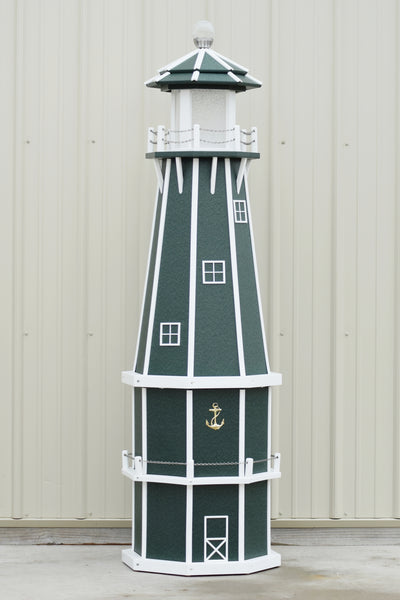 6 ft. Octagon Solar and Electric Powered Poly Lighthouse, Green/white trim