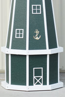 5 ft. Octagon Solar and Electric Powered Poly Lighthouse Green with White trim