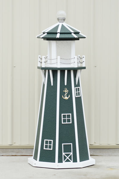 4 ft. Octagon Solar and Electric Powered Poly Lawn Lighthouse, Green/white trim