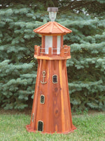 39 inch Solar and Electric Powered Red Cedar Lighthouse