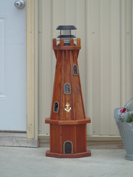 32 inch Solar Powered Red Cedar Lighthouse