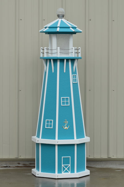 5 ft. Octagon Solar and Electric Powered Poly Lighthouses Aruba Blue with White trim