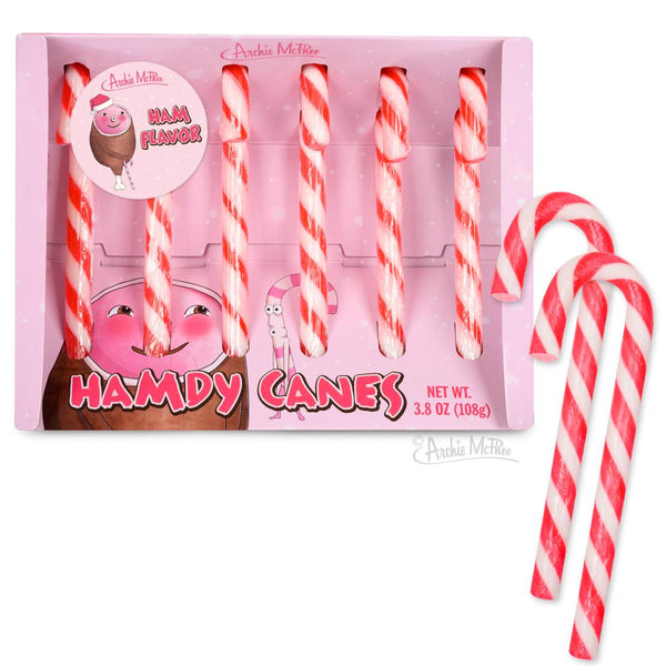 Hamdy Canes! Ham flavored candy canes!