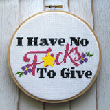 I Have No Fucks Cross Stitch Kit