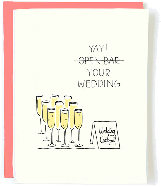 Open Bar Wedding  Greeting Card