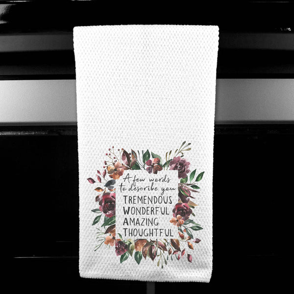 A Few Words to Describe You - Twat Floral Microfiber Towel