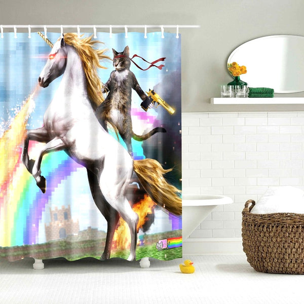 Cat Riding a Unicorn  Shower Curtain