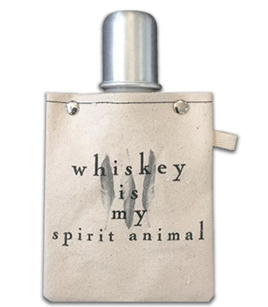 Whiskey is my Spirit Animal - Canvas Flask Canteen