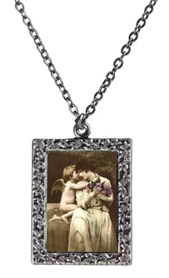 Cupid Hugging Woman Necklace