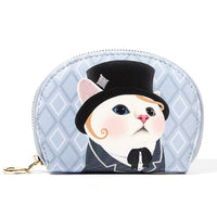 Fancy Cat Change Purse - Tophat Blue