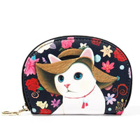 Fancy Cat Change Purse -Straw Hat Black