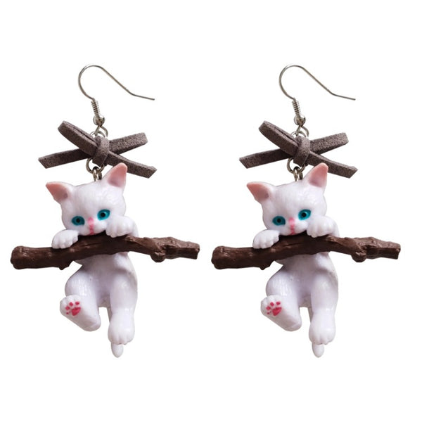 Hang In There!  Kitty Earrings