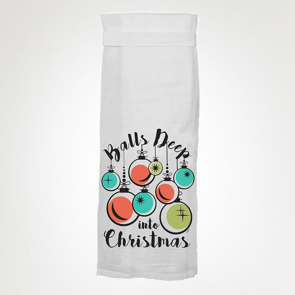 Balls Deep Into Christmas Hangtight Towel
