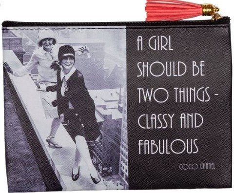 Coco Chanel Pouch - A Girl Should Be Two Things - Classy And Fabulous