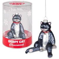 Derpy Cat Glass Ornament