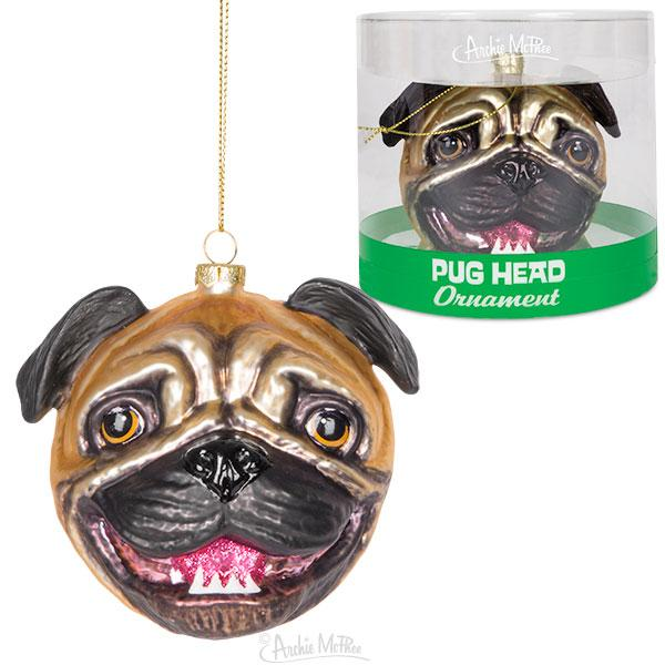 Pug Glass Ornament