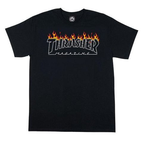 Thrasher Scorched Outline Black T