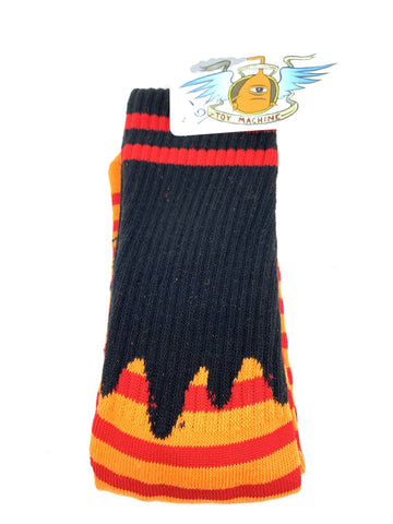 TM Sect Eye Stripe Crew Socks-Yellow/Navy/Orange