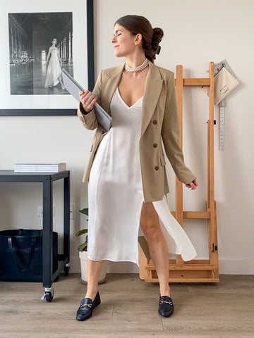 Slip dress work from home WFH look. Tonal blazer, pearls, and loafers