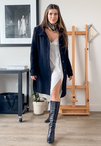 Outdoor dinner outfit, white slip dress, wool coat, snake skin knee high boots, scarf