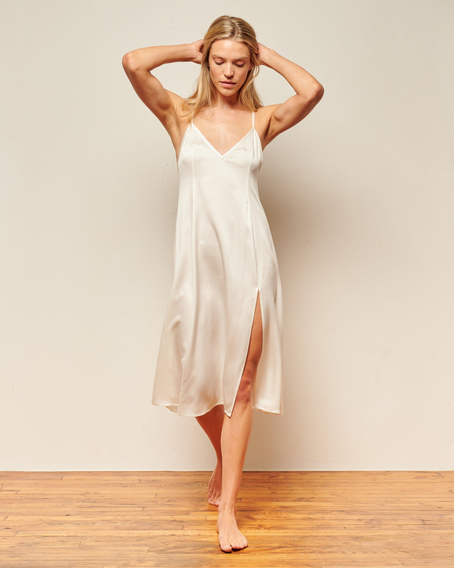 white elegant long silk nightgown